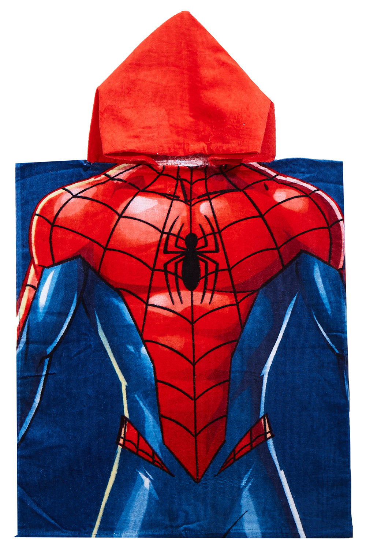 Marvel Spider-Man Badeponcho mit Kapuze rot-blau 50 x 115 cm