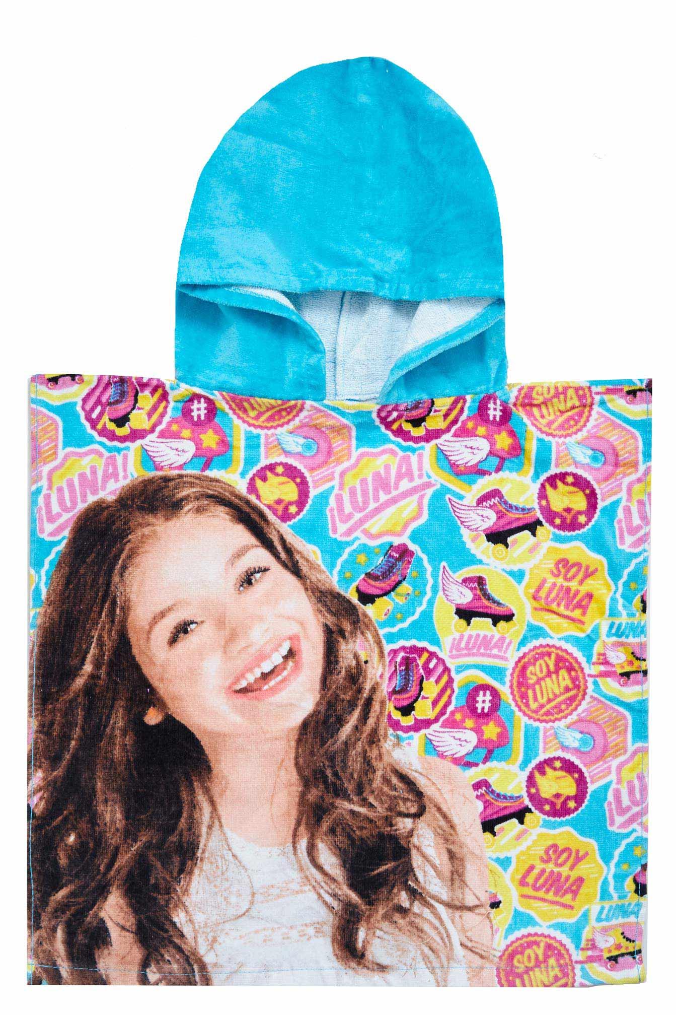 Soy Luna Kinder-Poncho mit Kapuze und bunten Rollschuh-Motiven! Blau