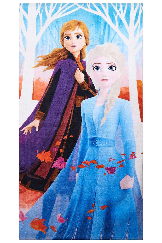 Disney Frozen 2 Handtuch Anna und Elsa mit Blättern 70 x 140 cm, 100% Baumwolle