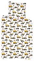 Baby Kinder Bettwäsche Baustellenfahrzeuge Betonmischer Traktor LKW Bettdecke 100x135 + Kopfkissen 40x60 cm, 100% Baumwolle
