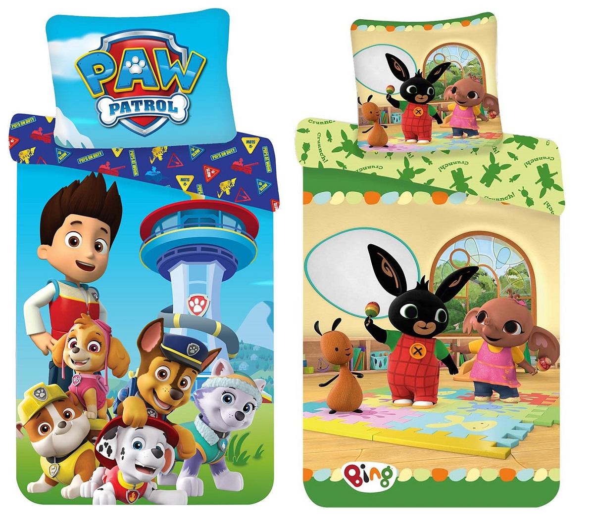 Baby Kinder Bettwäsche Paw Patrol Bing Bunny 100x135 + 40x60 cm 100% Baumwolle, (Auswahl)