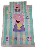 Baby-Wendebettwäsche Peppa Wutz Bear Hugs mit Sternen und Mond 100 x 135 cm 100% Baumwolle