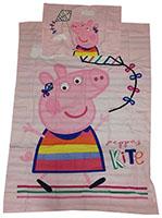 Baby-Wendebettwäsche Peppa Wutz beim Drachensteigen Rosa 100 x 135 cm 100% Baumwolle