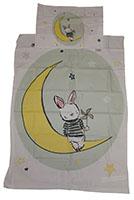Baby-Wendebettwäsche Hase mit Windrad auf dem Mond Grün 90 x 120 cm 100% Baumwolle