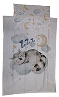 Baby-Wendebettwäsche Motiv: Waschbär auf Wolke 100 x 135 cm 100% Baumwolle
