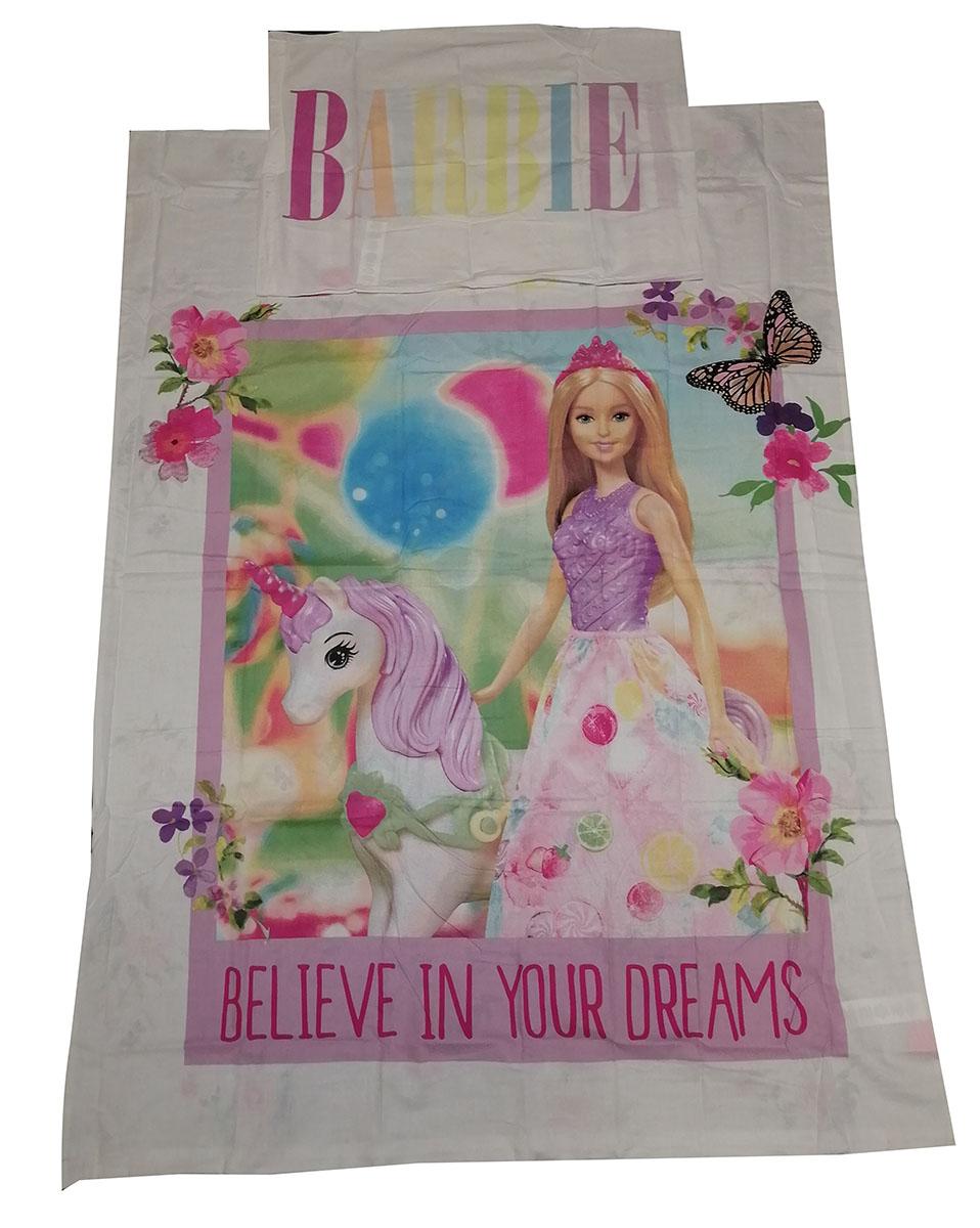 Baby-Wendebettwäsche Motiv: Barbie mit Einhorn 100 x 135 cm 100% Baumwolle