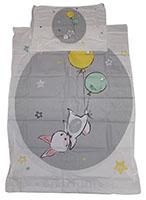 Baby-Wendebettwäsche Hase mit Ballons und Sternen Grau 90 x 120 cm 100% Baumwolle