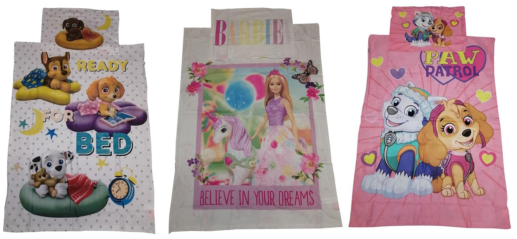 Baby-Wendebettwäsche Paw Patrol o. Barbie 100 x 135 cm 100% Baumwolle (Auswahl)
