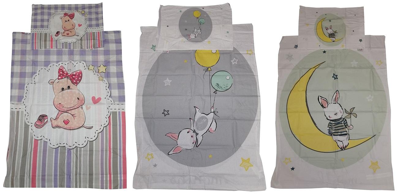 Baby-Wendebettwäsche Tier-Motive für Babys 90 x 120 cm 100% Baumwolle (Auswahl)