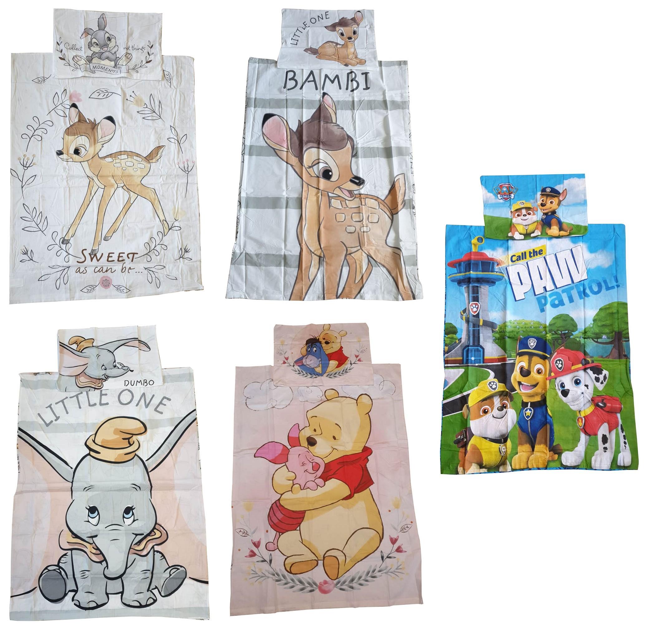 Baby Kinderbettwäsche Winnie Puuh Bambi Dumbo Paw Patrol 100 % Baumwolle (Auswahl)