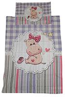 Baby-Wendebettwäsche Pinkes Nilpferd mit Herzen und Sternen 90 x 120 cm 100% Baumwolle