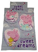 Babybettwäsche Peppa Wutz Recipe for Sweet Dreams lila100 x 135 cm 100% Baumwolle