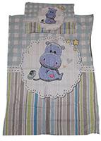 Baby-Wendebettwäsche Motiv: Blaues Nilpferd mit Sternen 100 x 135 cm 100% Baumwolle