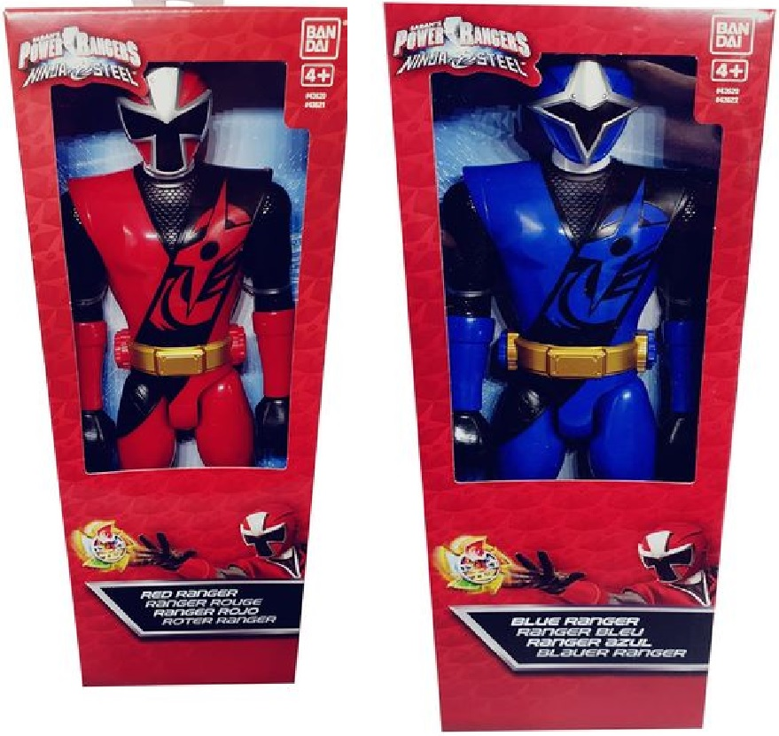 Bandai Power Rangers 2er Set 43621 Rot und 43622 Blau Ninja Steel Action-Figur 30 cm groß