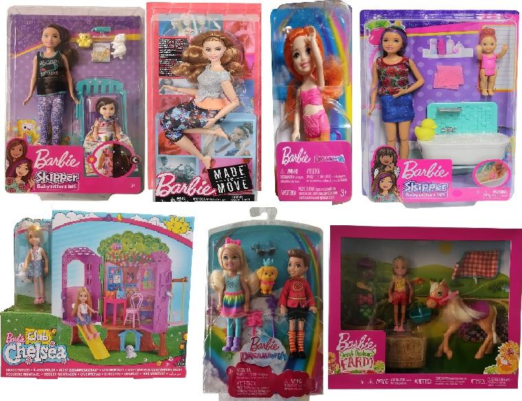 Mattel Barbie 7er-Puppenset mit Zubehör, Dreamtopia Chelsea, Babysitter Skipper Puppen