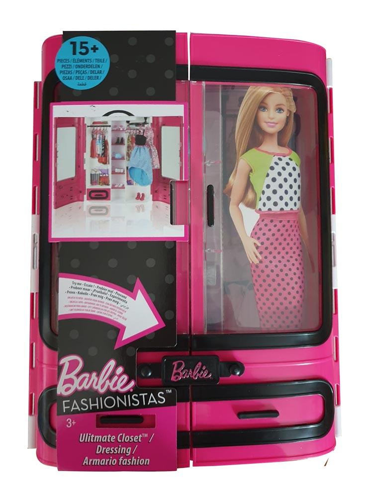 Barbie DMT57 - Kleiderschrank, Puppen Zubehör mit Kleidung und Accessoires, Mädc