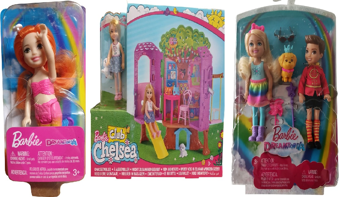 Barbie Dreamtopia Chelsea FKN05 Mini-Meerjungfrau Baumhaus FPF83 und Prinz Otto FRB14 3er-Puppenset NEU