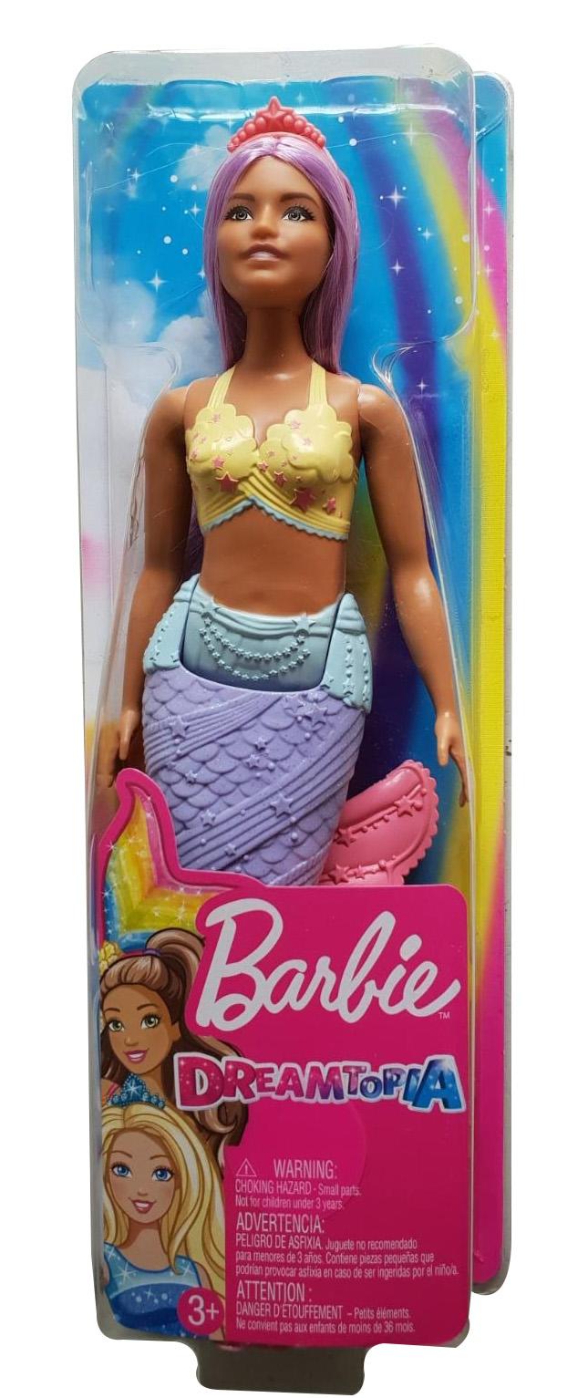 Barbie Dreamtopia Meerjungfrau Puppe mit Regenbogen-Flosse und lila Haar