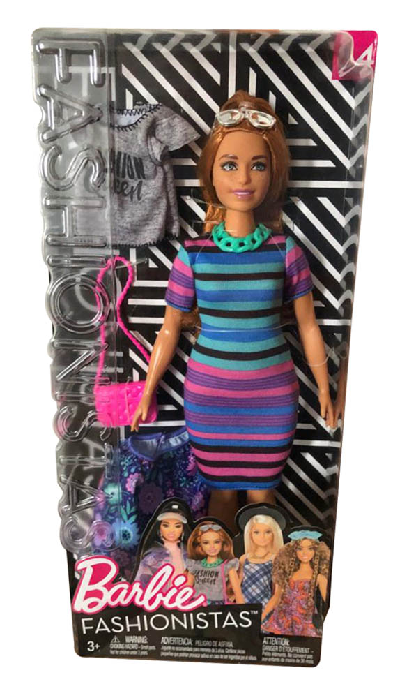 Barbie FJF69 Fashionistas Puppe + Mode Geschenkset im bunt gestreiften T-Shirt