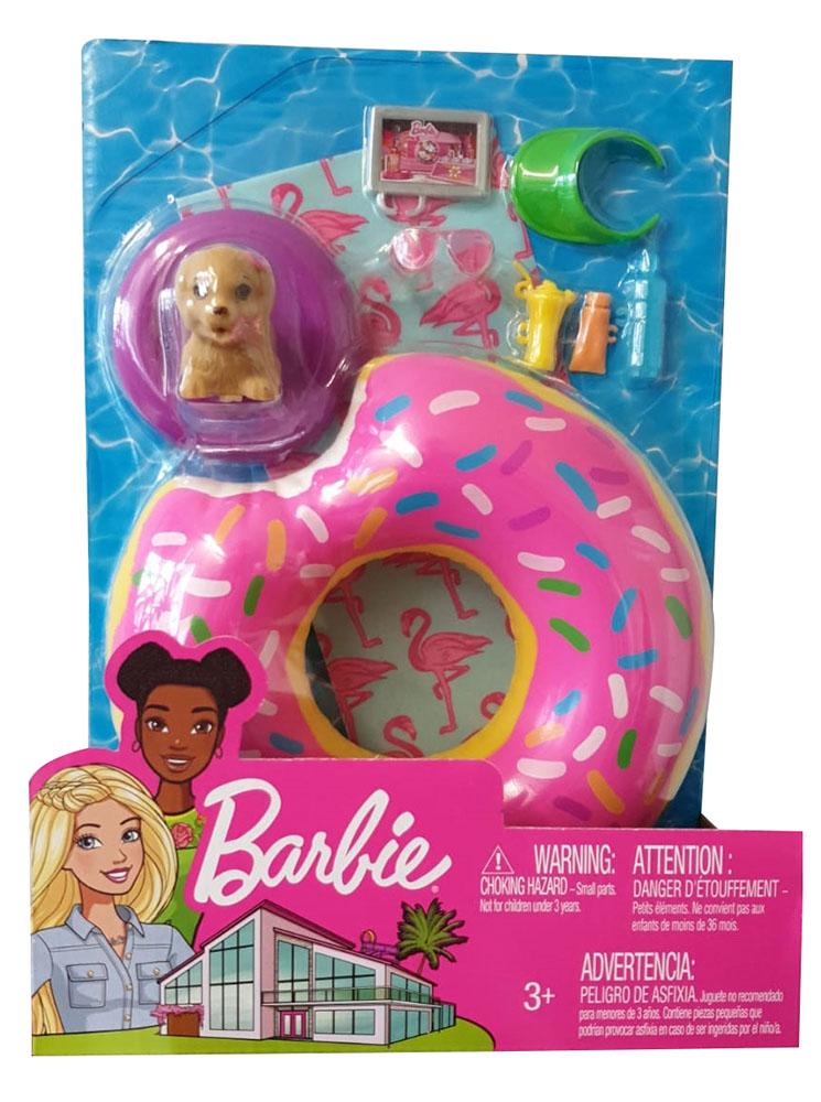 Barbie FXG38 - Möbel-Set Thema: Flamingo mit Donut-Schwimmring und Zubehör