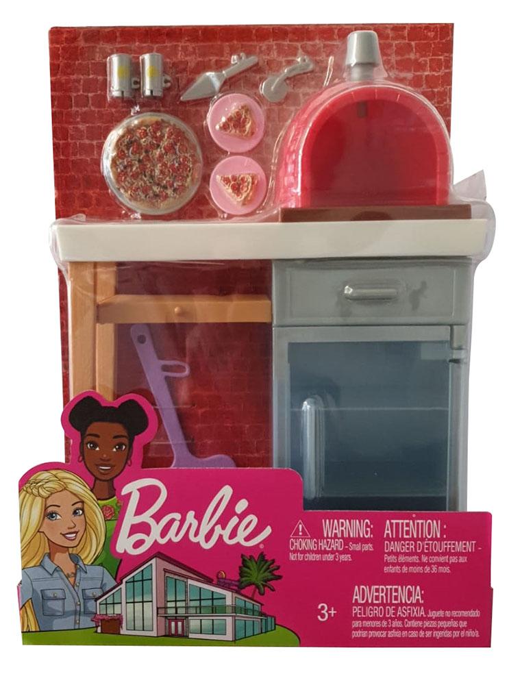 Barbie FXG39 - Möbel-Set Thema: Steinpizzaofen und Puppenzubehör, ab 3 Jahren