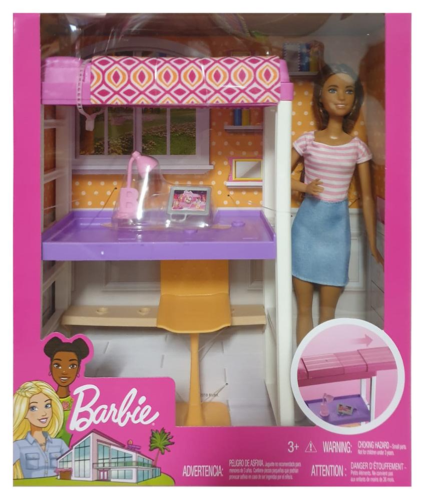 Barbie FXG52 - Deluxe-Set Möbel Hochbett mit Schreibtisch und Puppe