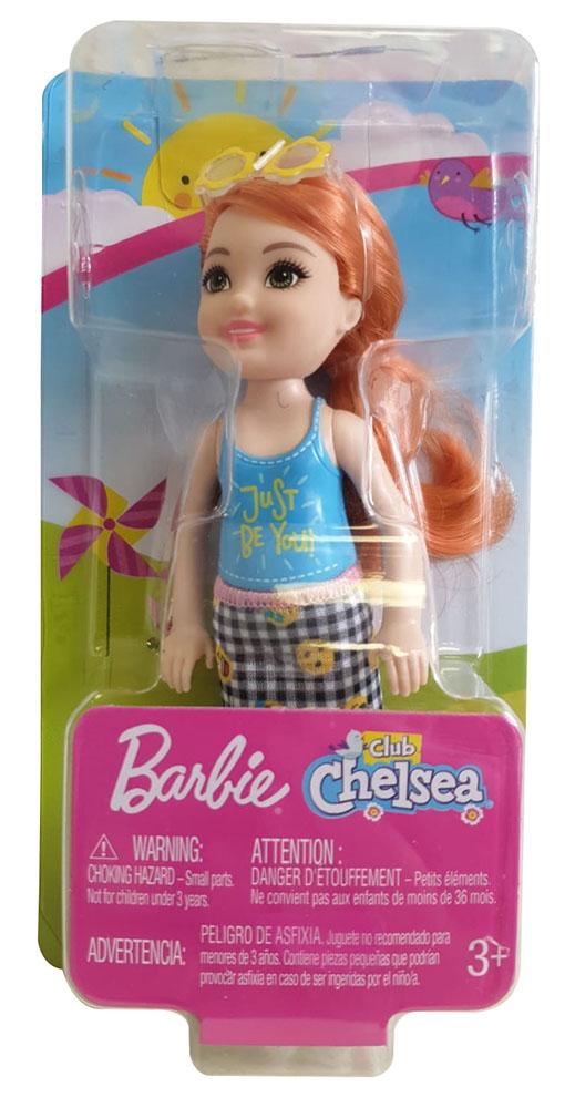 Barbie FXG81 Club Chelsea Mädchen Puppe rothaarig mit blauem Shirt