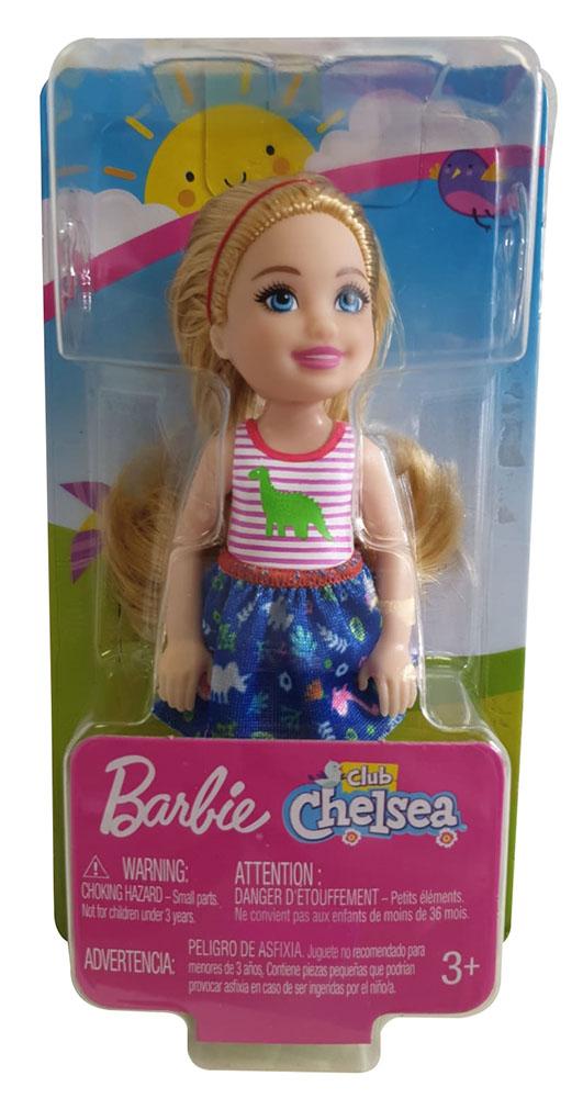 Barbie FXG82 Club Chelsea Mädchen Puppe blond mit gestreiftem Dino Shirt