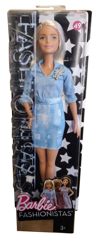 Mattel Barbie DVX71 Fashionistas Puppe Jeanskleid und schwarze High Heels, Größe 32 cm