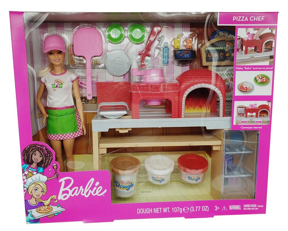Barbie als Pizza-Chefin mit Pizzabackofen und vielen Zubehör inkl. Knete