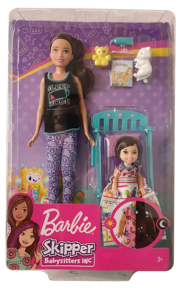 Mattel Barbie GHV88 Skipper Babysitters Schlafenszeit Spielset mit Puppen