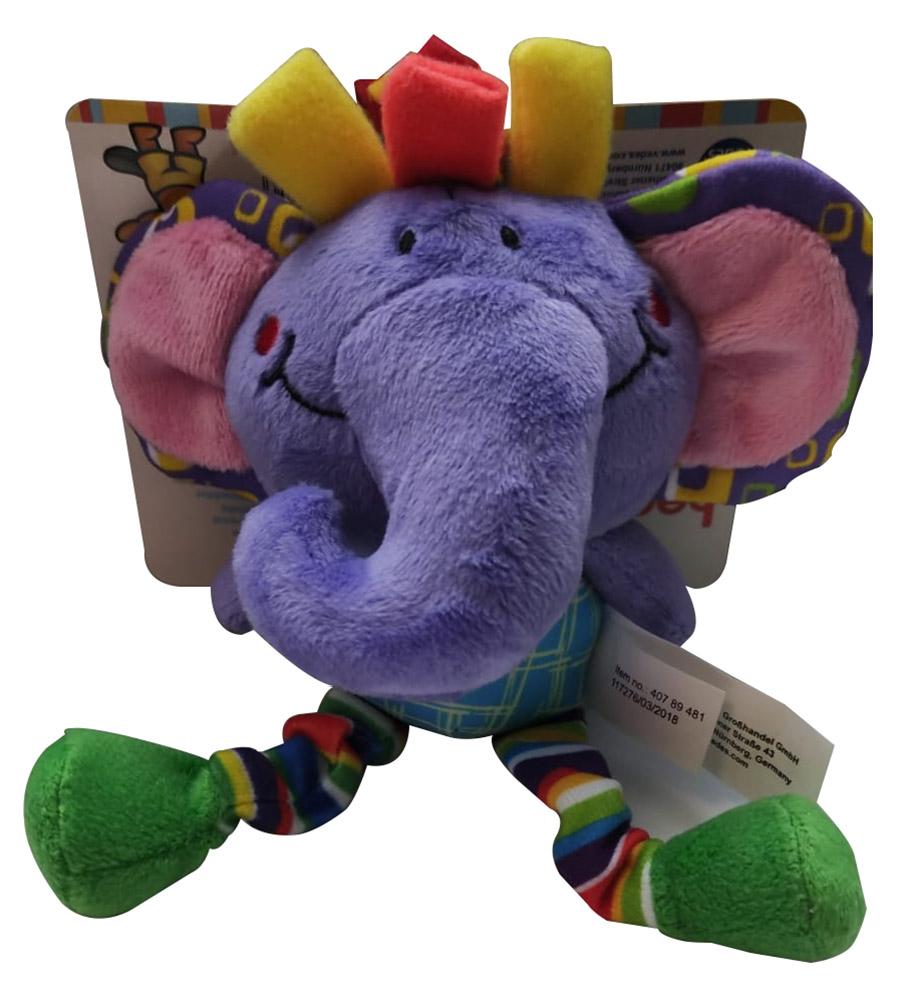Beeboo 40789481 Baby Activity Spieltier Kuscheltier Schmusetier für den Kinderwagen - lila Elefant