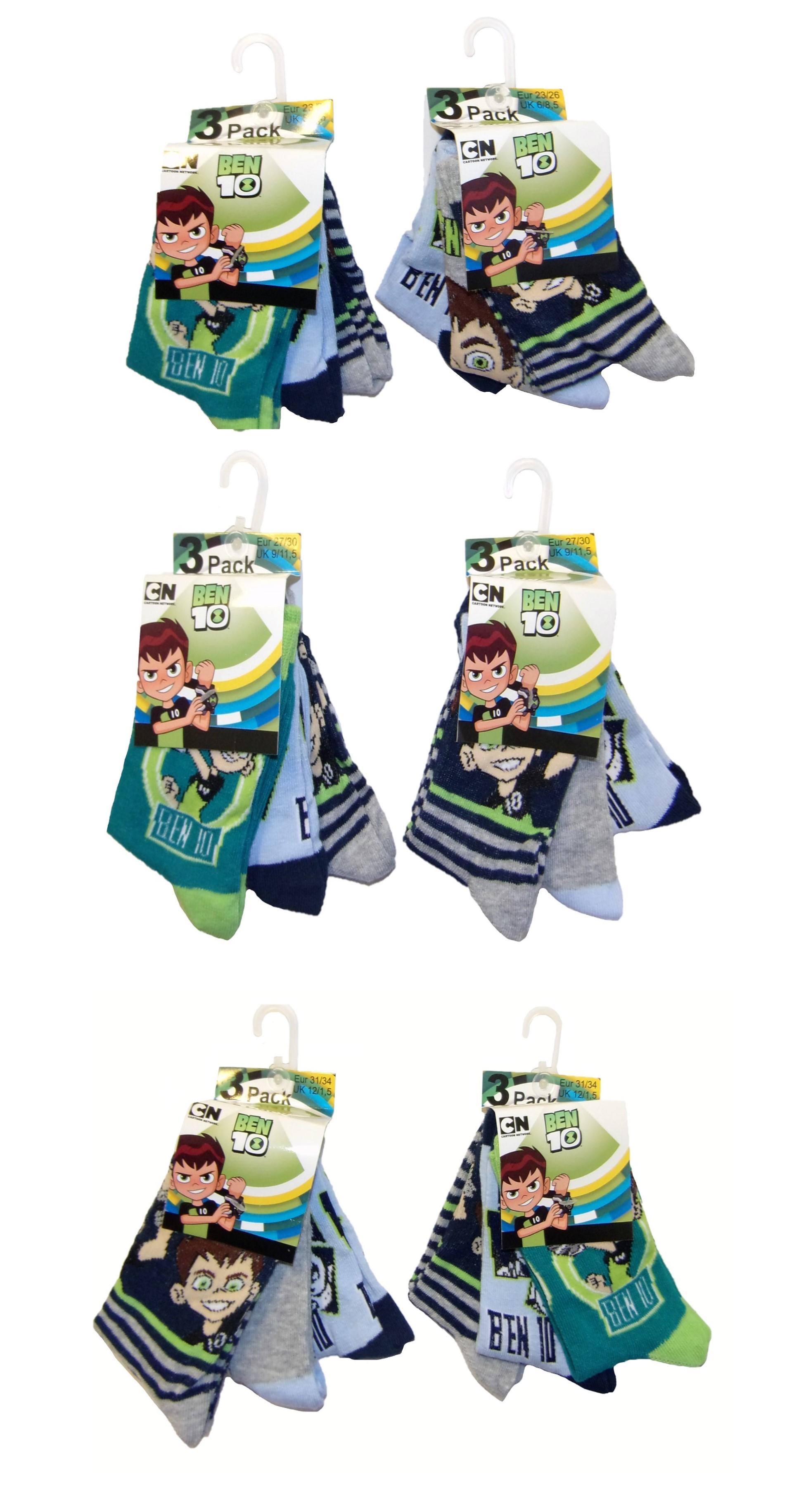 Ben 10 Socken für Kinder verschiedene Größen (6er Pack) (Auswahl)