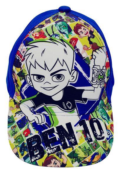 Ben10 Kappe für Kinder, mit Ben und Aliens im Comic Stil, Cappy mit Klettverschluss, Blau Gr. 52