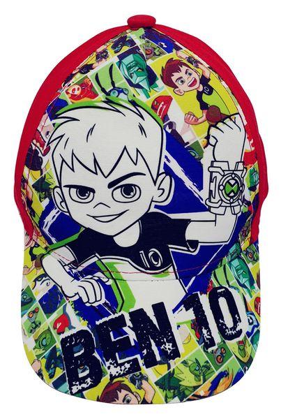 Ben10 Kappe für Kinder, mit Ben und Aliens im Comic Stil, Cappy mit Klettverschluss, Rot Gr. 54