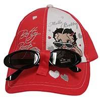 Betty Boop Mütze Kappe Basecap mit Herzchen inkl. Sonnenbrille für Kinder Rot Größe 54
