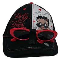 Betty Boop Mütze Kappe Basecap mit Herzchen inkl. Sonnenbrille für Kinder Schwarz Größe 54