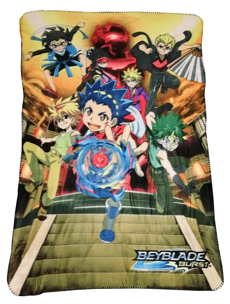 Beyblade Burst Fleecedecke mit Valt, Free, Silas, Cuza, Wakiya, Daigo, Rantaro 100 x 150 cm