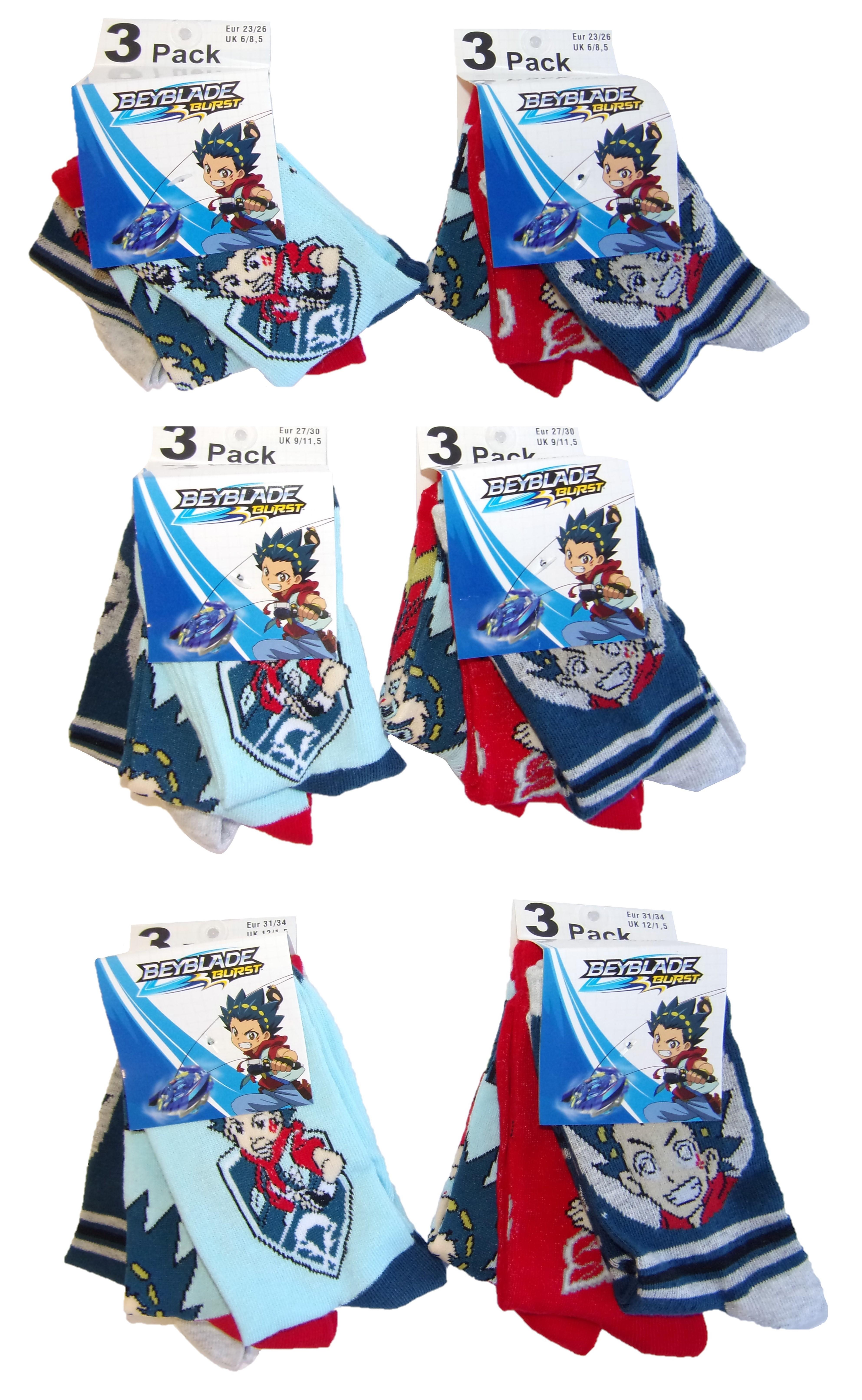 Beyblade Burst Socken für Kinder verschiedene Größen (6er Pack) (Auswahl)