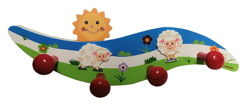 Bieco Kindergarderobe aus Holz mit Schaf Betty und 4 Haken