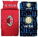 Bettwäsche Fußball Club Inter Mailand AC Mailand Bettdecke 135x200 + Kopfkissen 80x80 cm 100% Baumwolle Fanartikel