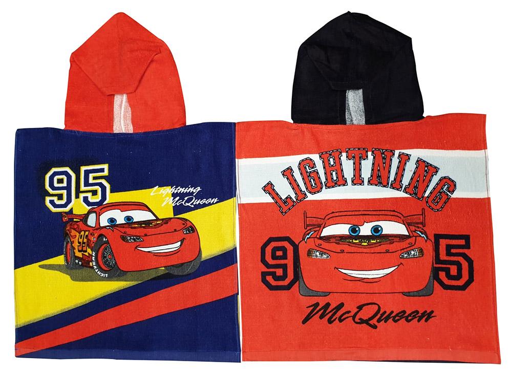 Disney Cars Lightning McQueen Poncho aus 100% Baumwolle in zwei Farben (Auswahl)