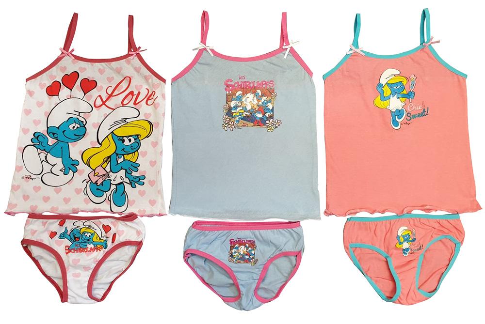 Die Schlümpfe Unterwäsche-Set 6tlg. für Mädchen Hemd Slip Größe (Auswahl)