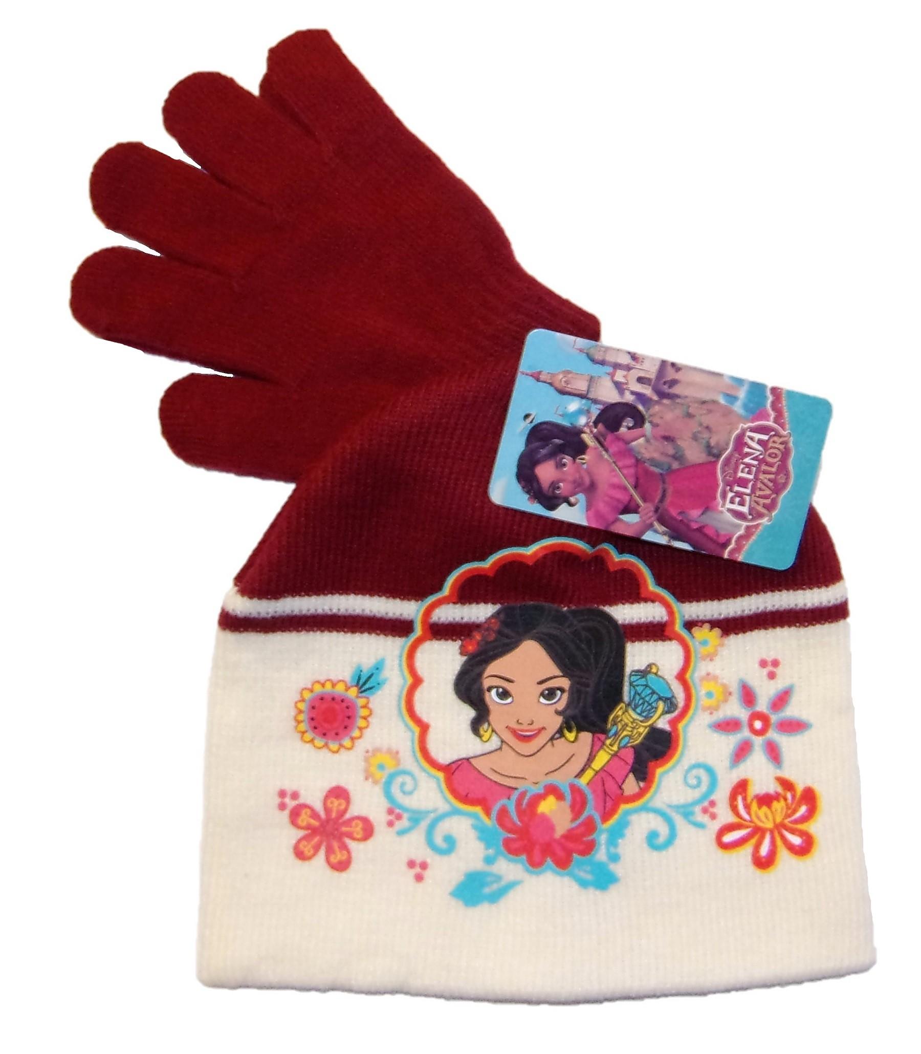 Disney Elena von Avalor Mütze-Handschuhe-Set für Mädchen Weinrot 52