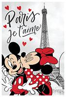 Disney Fleecedecke mit Minnie und  Mickey in Paris - Je t`aime mit Herzchen für Kinder