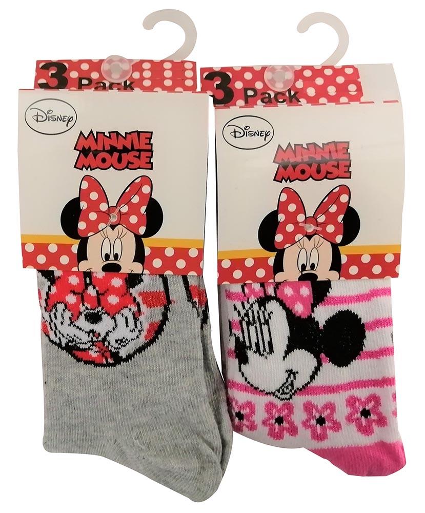 Disney Minnie Maus 6er Set Mädchen Socken Weiß/Pink/Grau für Kinder (Auswahl)