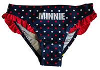 Disney Minnie Maus Badehose, Badeslip für Mädchen, blau-rot gepunktet, Gr. 128 cm