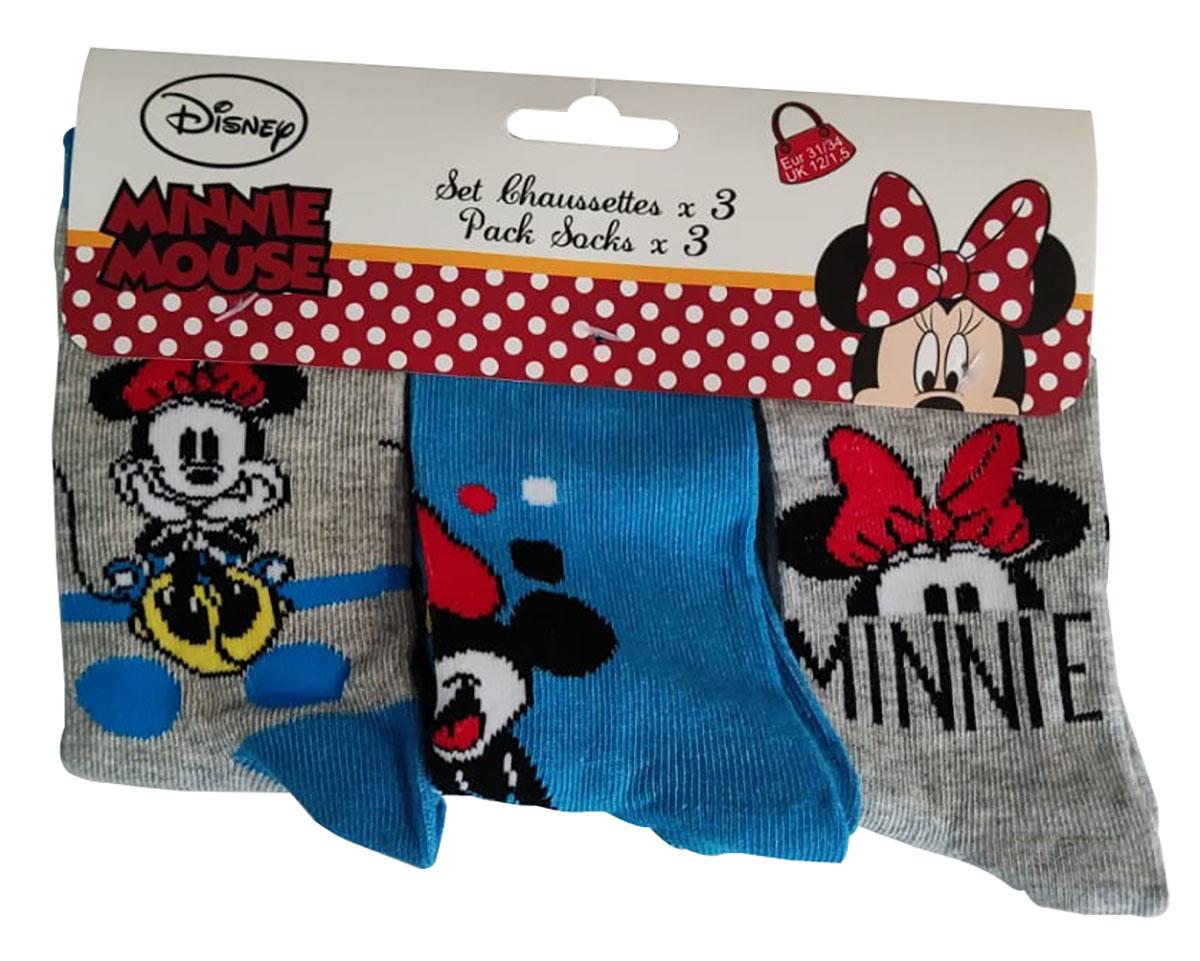 Disney Mickey und Minnie Maus Socken 3-er Pack blau-grau für Kinder (Auswahl)