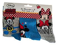 Disney Mickey und Minnie Maus Socken 3-er Pack blau-grau für Kinder Größe 23/26