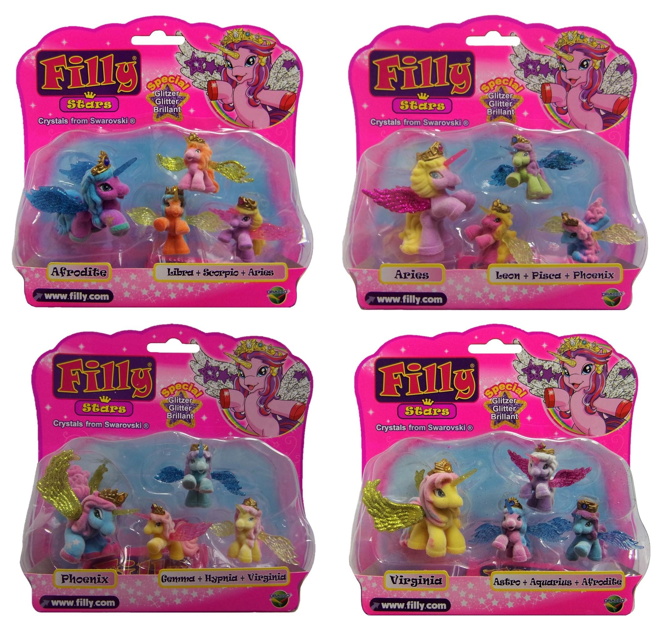 Dracco Filly Glitzer Stars 4er Set Mutter mit 3 Pferdchen (Auswahl)